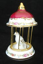 VINTAGE LIMOGES FRANCE WHITE BIRD IN RED & GOLD CAGE WITH  MADE IN FRANCE MINT