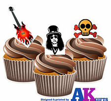 Slash Guns n Roses Mix Birthday Party 12 Cup Cake Toppers Edible Decorations