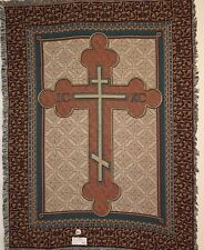 "Brand New `Orthodox Cross"" Jewish Religious Tapestry Afghan Throw Blanket"