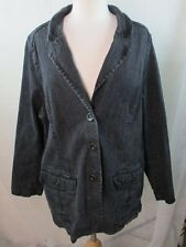 DENIM CO 2X 18/20 WOMENS PLUS SIZE DARK WASH JEAN JACKET COAT STRETCH FREE SHIP