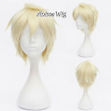 APH England Arthur Kirkland Light Blonde 30CM Short Hair Anime Cosplay Wig + Cap