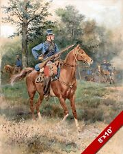 THE HORSEBACK RIFLEMAN CAVALRY SOLDIER WATERCOLOR PAINTING ART REAL CANVAS PRINT