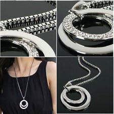 New Simple Pendant Necklace Long Silver Chain Fashion Jewelery Love Crystal Gift