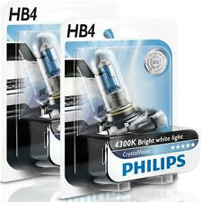 (PAIR) PHILIPS HB4 9006 CRYSTAL VISION 4300K WHITE HALOGEN BULBS 12V 55W