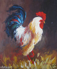 """Hand Painted Oil On Stretched Canvas Cloth 20""""x24"""" ~A Rooster~"""