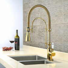 Pull Down Swivel Spout Spring Single Handle Kitchen Faucet Brass Gold Mixer Tap