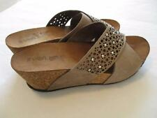 Womens VOLARE Suede Cut Out Wide Strap Rhinestone SLIDES Cork Wedge 39  US 8