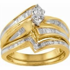 1/3 cttw Certified Marquise Diamond Center Bridal Set in 10K Yellow Gold