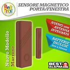 SENSORE MAGNETICO MARRONE PORTE/FINESTRE WIRELESS 433 ANTIFURTO ALLARME A-B-N-X