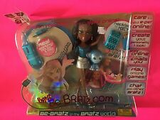 NEW BRATZ BE-BRATZ.COM  DARK HAIR DOLL BLUE MONKEY SASHA MOUSE & PAD NECKLACE