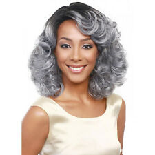 Women's Short Curly Full Wig Heat Resistant Hair Black Ombre Grey Party Wigs