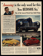1940 HUDSON SIX Blue & Red Coupe & Yellow Convertible Car - VINTAGE AD