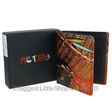 NEW Mens LEATHER Fishing Tri-Fold WALLET by Retro Gift Box Anglers Fish Hook Rod