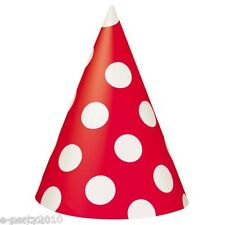 (8) RED POLKA DOT CONE HATS ~ Birthday Party Supplies Paper Favors