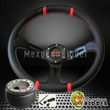 Red Stitch 350mm Deep Dish Steering Wheel & Hub Adapter Toyota Celica 1982-2003