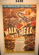WALK INTO HELL 1SH Original Movie Poster 1957 snake attacking sexy girl!