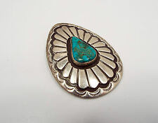 Vintage Native American Old Pawn Sterling Silver & Turquoise Teardrop Pendant