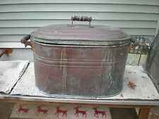 Antique Copper Wash Tub/ Boiler w/ Lid  Wood Handles - Nice Barn Find- Pat. 1909