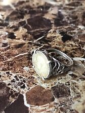 Antique Art Deco/nouveau 1920 Solid Silver Ring With Old Three Pence Coin
