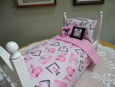 "Pink ~ Bedding Set made for 18"" American Girl Our Generation Dolls  #358"