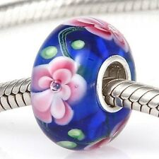 NEW 925 Silver Murano Glass Lampwork Floral Flowers Charm European Bracelet Bead
