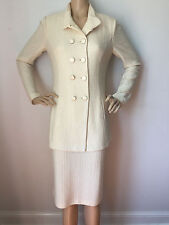 NEW ST JOHN KNIT SZ 14 WOMENS CREAM VANILLA SKIRT SUIT JACKET TWEED WOOL RAYON