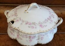 HAVILAND LIMOGES HEAVY GOLD ROUND TUREEN  COVERED SERVING BOWL PINK ROSES