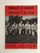 1945 College Football Program University of Colorado vs University of Utah