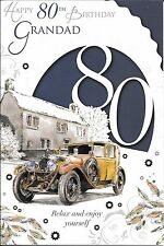 80th BIRTHDAY CARD FOR GRANDAD - AGE 80 - GRANDAD - VINTAGE CAR