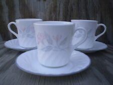Corelle Dishes Pink Trio White Swirled Cups & Saucers 3 Sets