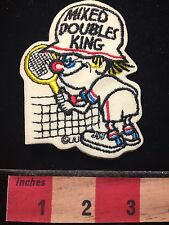 Vintage Goofy Male Tennis Player Patch ~ Mixed Doubles King 60C9