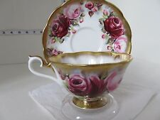 STUNNING ROYAL ALBERT SUMMER BOUNTY RUBY WIDE MOUTH CUP AND SAUCER VERY PRETTY