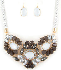 LUSH Statement Glam Gold White Rope Crystal Necklace Set By Rocks Boutique