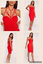 Harness Dress NWT Red Bodycon Fitted Wedding Evening Club Cocktail Party UK 10