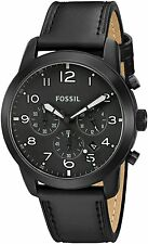 Fossil FS5157 Men's Pilot 54 All Black Leather Band Chronograph Date Watch
