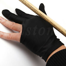 Black Spandex Snooker Billiard Cue Glove Pool Left Hand 3 Finger Accessory