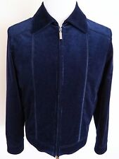 $5500 ZILLI Blue Corduroy with Calf Suede Leather Trim Jacket Size 50 EU Medium
