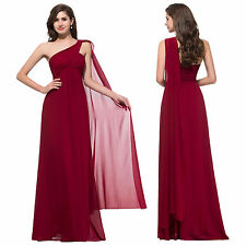 UK 16 One Shoulder Long Evening FORMAL Party Wedding Gowns Prom Bridesmaid Dress