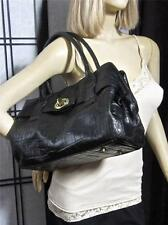 Michael Rome Design Croco Embossed Leather Belted Satchel Bag Turnlock Purse