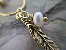 """Gold Feather Natural Pearl Cartilage Piercing Captive Ring Tragus 16G 1/2"""""""