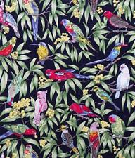 AUSTRALIAN BIRDS ON DK NAVY QUILTING FABRIC  - sold by the FQ and the METRE