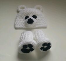 NEW Newborn Baby Crochet Polar Bear Hat and Booties infant Photo Prop Gift