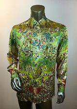 VERSUS VERSACE Men's Multicolor Collage Print Silk Button-Front Shirt- EU Sz. 48
