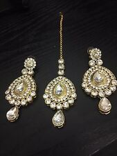 NEW EARRING & TIKKA SET INDIAN BOLLYWOOD JEWELLERY BRIDAL PARTY GOLD WHITE STONE