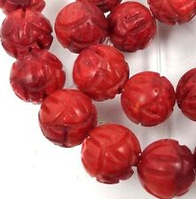 8mm Red Orange Bamboo Coral Carved Rose Flower Round Beads (25)