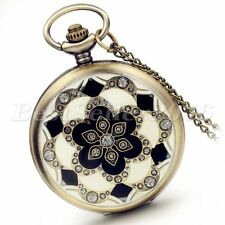 Vintage Flower Pattern Digital Dial Pocket Watch Quartz Pendant Necklace Chain
