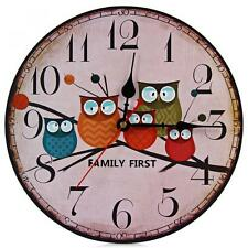 """13"""" Vintage Retro Rustic Shabby Chic Kitchen Wooden Owl Wall Clock Home Decor"""
