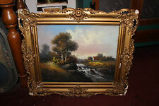 Antique Pastel Chalk Painting-William Chandler-Country Cottage Stream Trees-