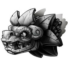 """""""Negro y Gris"""" Temporary Tattoo, Aztec Dragon Stone Statue, Made in USA"""