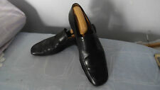 HUGO BOSS MEN'S MADE IN ITALY BLACK SLIP ONS LEATHER SHOES SIZE UK 8